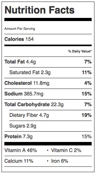 Sweet Potato & Black Bean Enchilada Nutrition Information