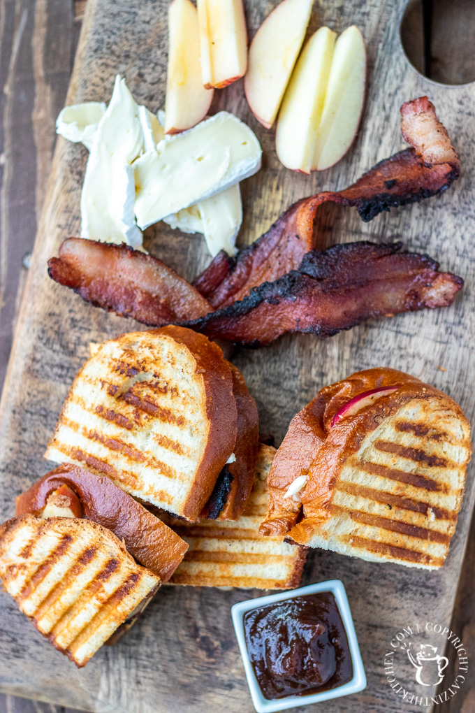 panini, bacon, apples, brie, apple butter