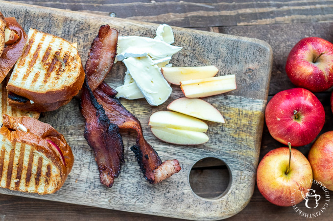 ingredients for apple bacon brie grilled cheese panini