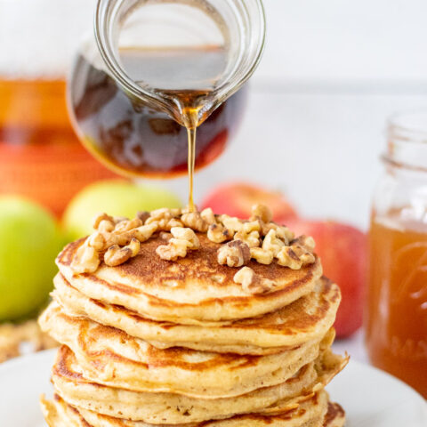 Spiced Apple Cider Pancakes with Maple Bourbon Syrup