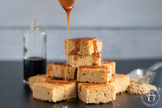 butterscotch brownies with caramel drizzle