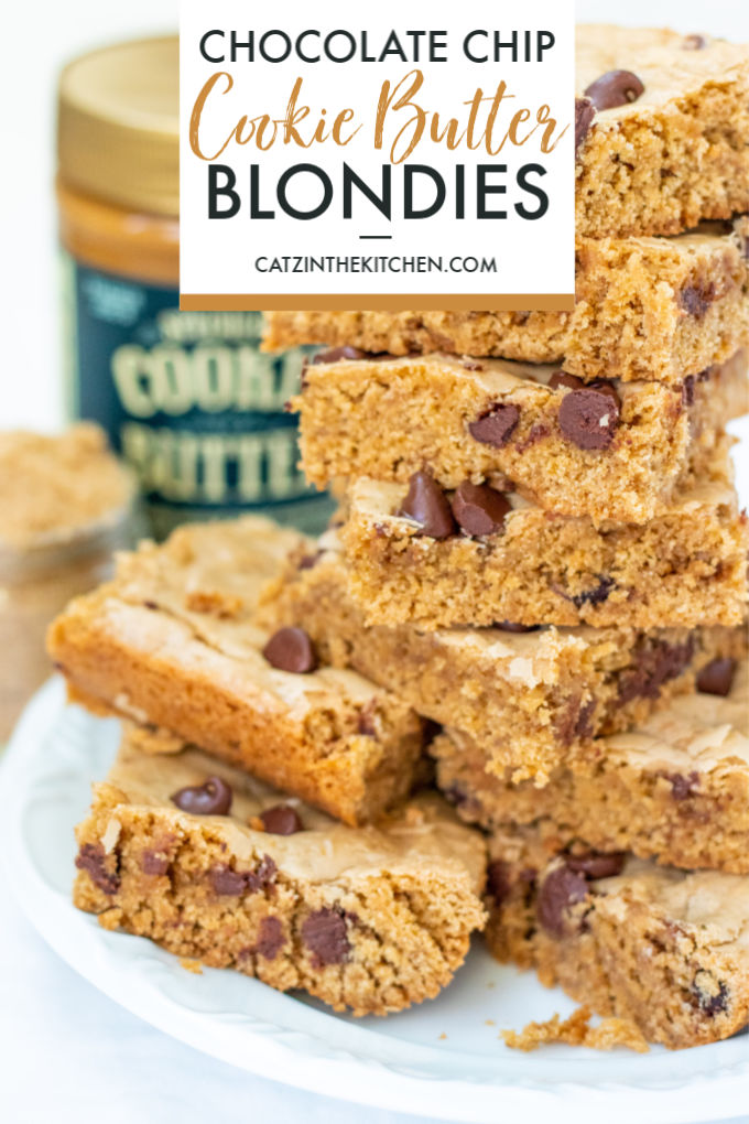 """Whether you call this recipe cookie butter chocolate chip blondies or just """"cookie casserole,"""" it's just plain addictive! Bake them up with the kiddos!"""