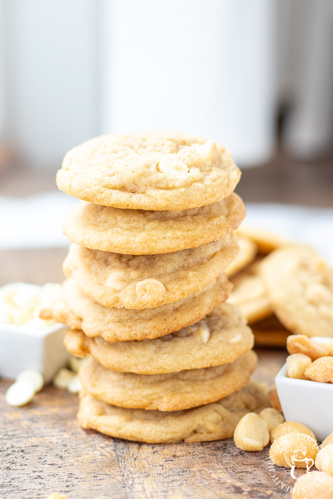 White Chocolate Macadamia Nut Cookies in a stack