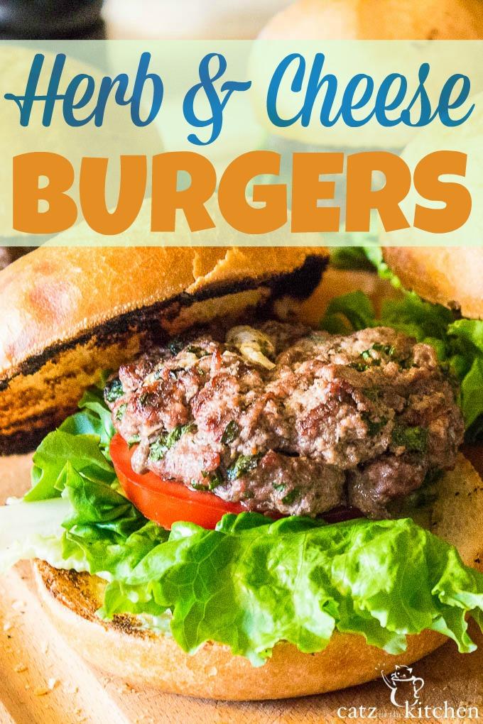 Herb & Cheese Burgers | Catz in the Kitchen | catzinthekitchen.com #burgers