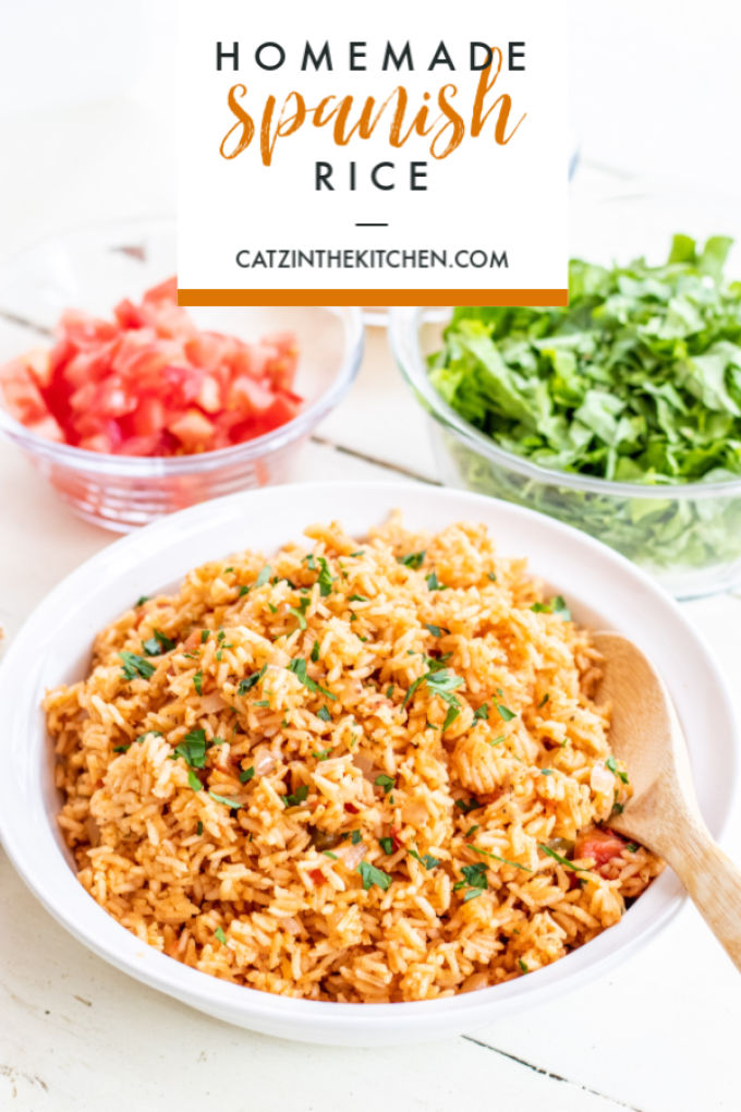 This homemade Spanish rice is as easy as the boxed rice you buy at the store, more flavorful, and healthier. This is the perfect side to your taco nights.