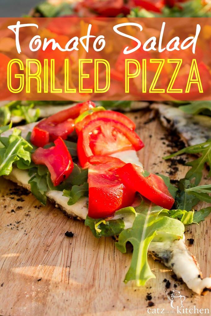 Tomato Salad Grilled Pizza | Catz in the Kitchen | catzinthekitchen.com #pizza