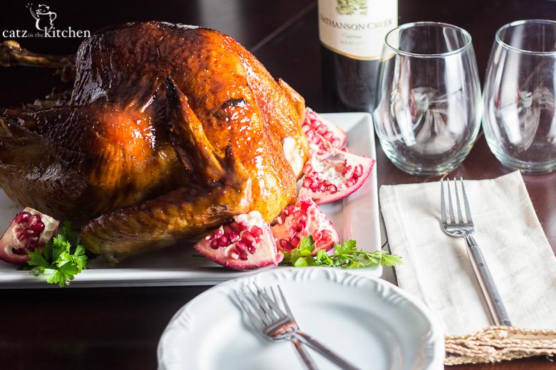 Pomegranate Molasses Glazed Turkey   Catz in the Kitchen   catzinthekitchen.com   #Thanksgiving #pomegranate #turkey