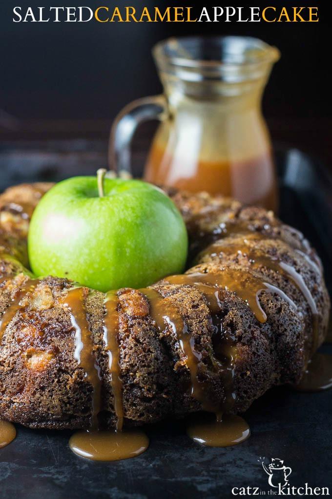 Salted Caramel Apple Cake | Catz in the Kitchen | catzinthekitchen.com | #caramel #fall #cake