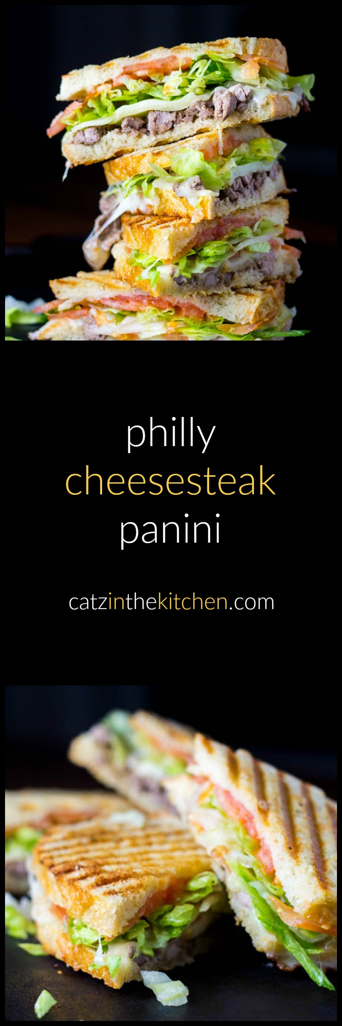 Philly Cheesesteak Panini   Catz in the Kitchen   catzinthekitchen.com   #philly #cheesesteak #panini #recipe