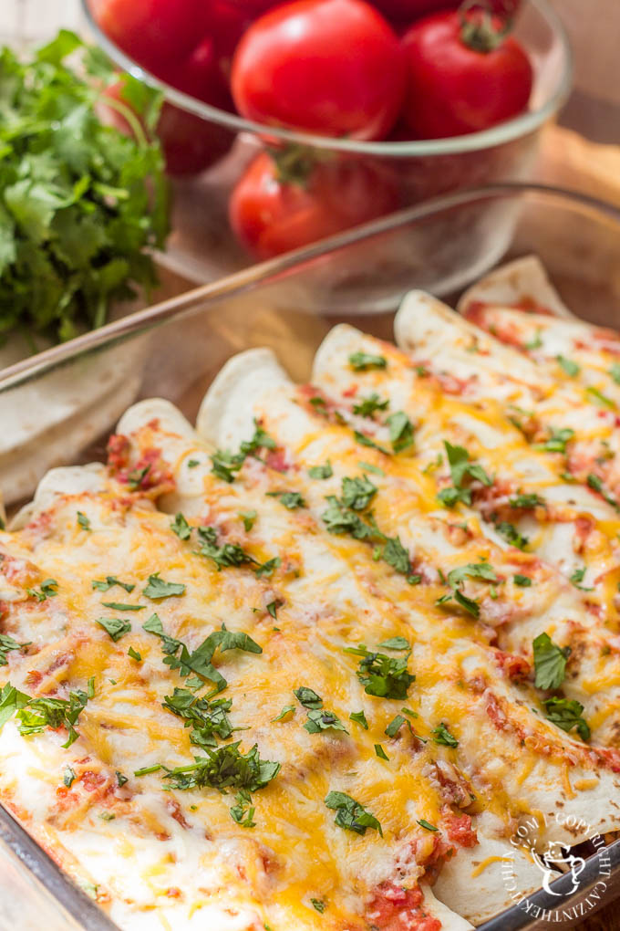 Light and healthy (well, maybe minus the tortillas), these meatless enchiladas are super tasty and easy to make, mostly from things you have leftover!