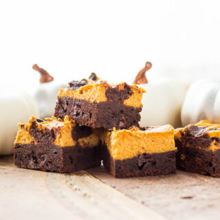 These swirled pumpkin cheesecake brownies are fun, festive, and easy to make! Not too sweet, with a subtle pumpkin flavor, let the kiddos help whip them up!