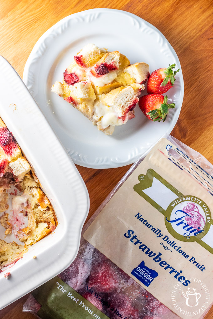 Easy, fresh, bright, sweet, & creamy, this Strawberries & Cream Overnight French Toast features frozen Oregon berries so you can make it all year long!