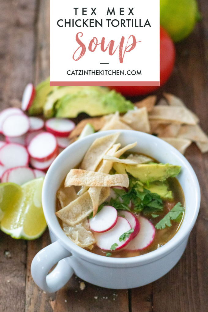 This comforting, brothy take on tex mex chicken tortilla soup is easy to make in a hurry, and features simple, staple ingredients and easy directions!