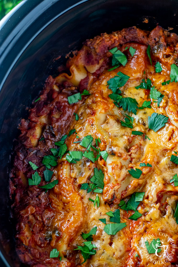 This easy recipe for slow cooker veggie lasagna is one of those crazy-day busy-parent end-of-day lifesaver kind of meals! Plus...leftovers!