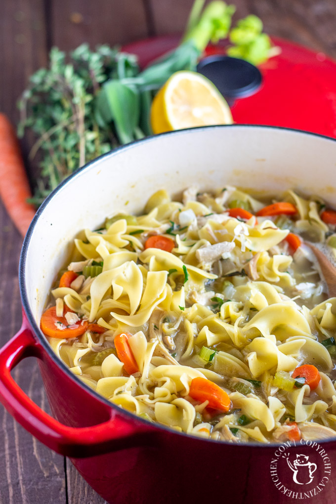 A flavorful, quick, easy, recipe for homemade chicken noodle soup - make this when your family is under the weather - or when you just want some comfort!