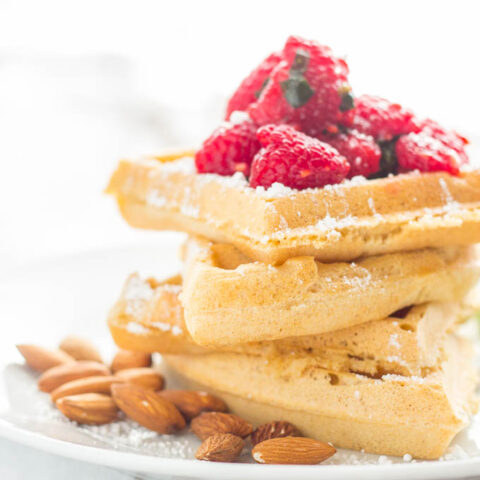 Almond Waffles with Raspberry Basil Sauce