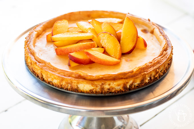 ginger peach cheesecake on a platter