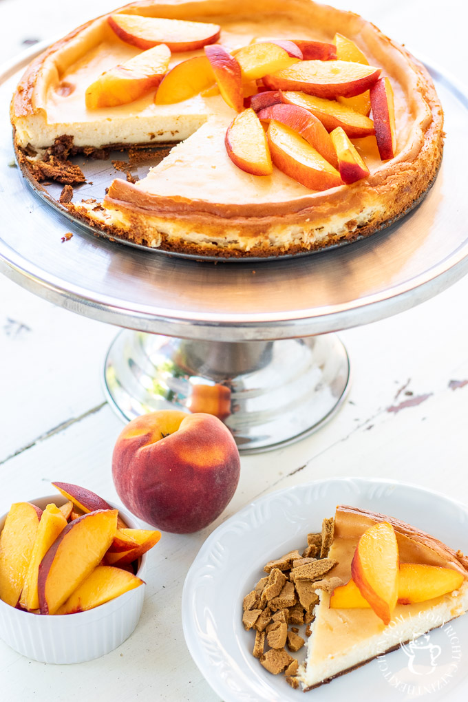 peach cheesecake with ginger snap crust