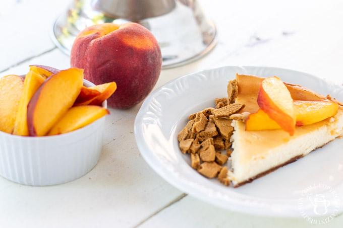 slice of peach cheesecake