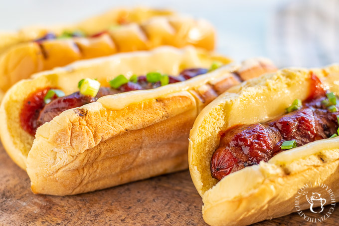 This is so easy, it's barely even a recipe! Instead of plain ole' hotdogs, why not punch it up with some bacon wrapped cheese dogs?