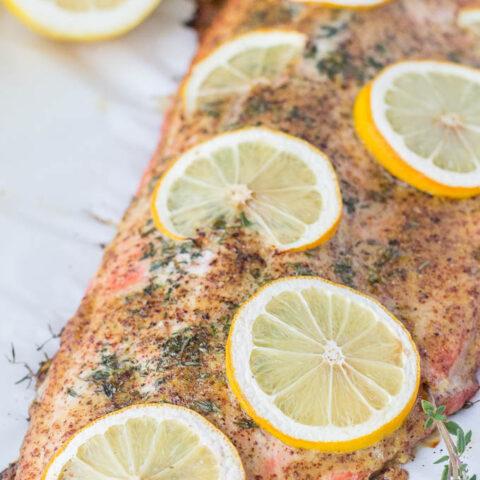 Roasted Glazed Honey Mustard Salmon with Thyme