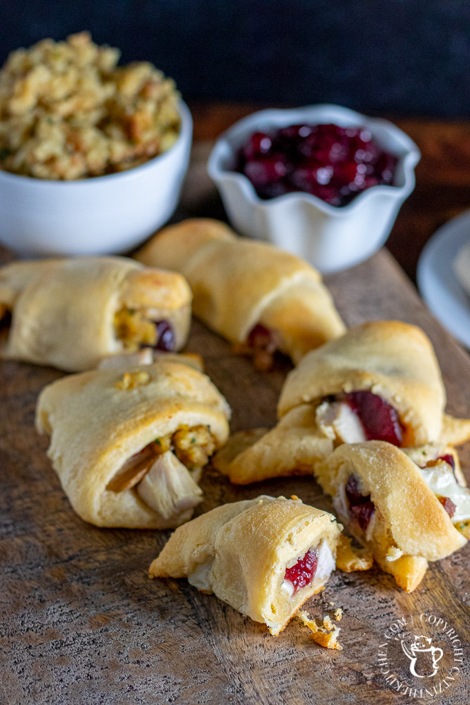 crescent rolls with Thanksgiving leftovers