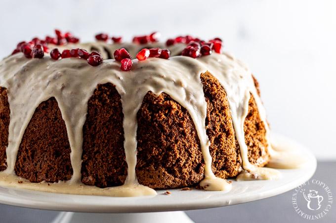 Cocoa Chiffon Cake on cake stand
