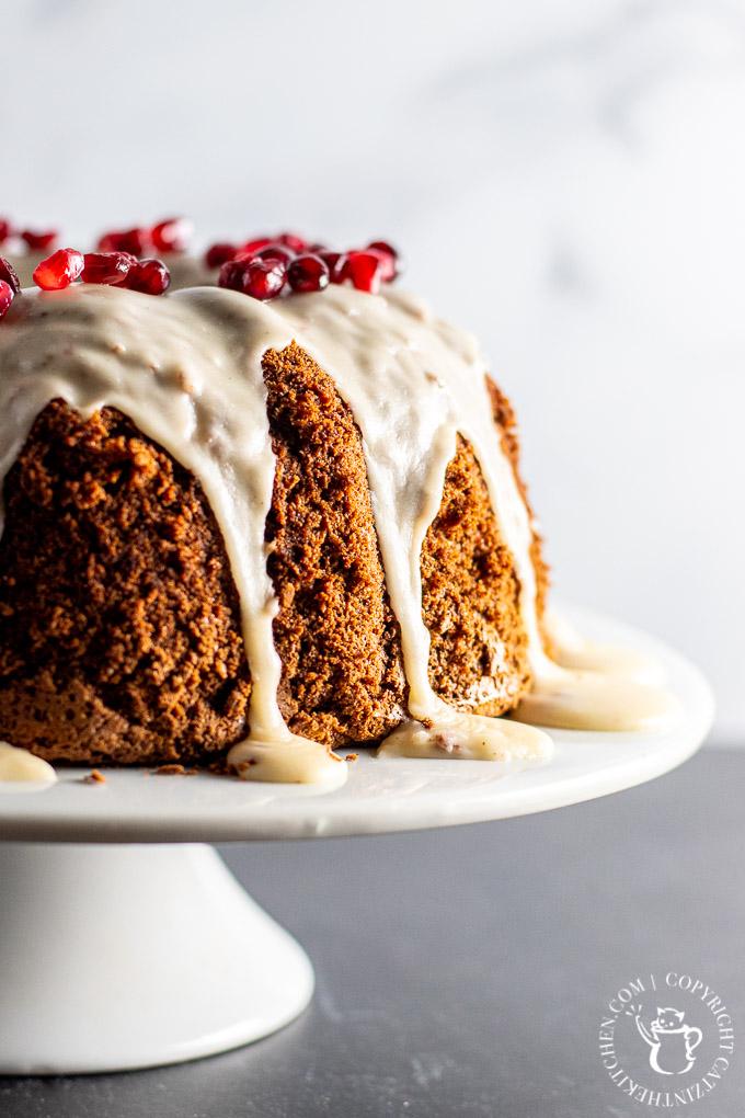 Cocoa Chiffon Cake with vanilla glaze