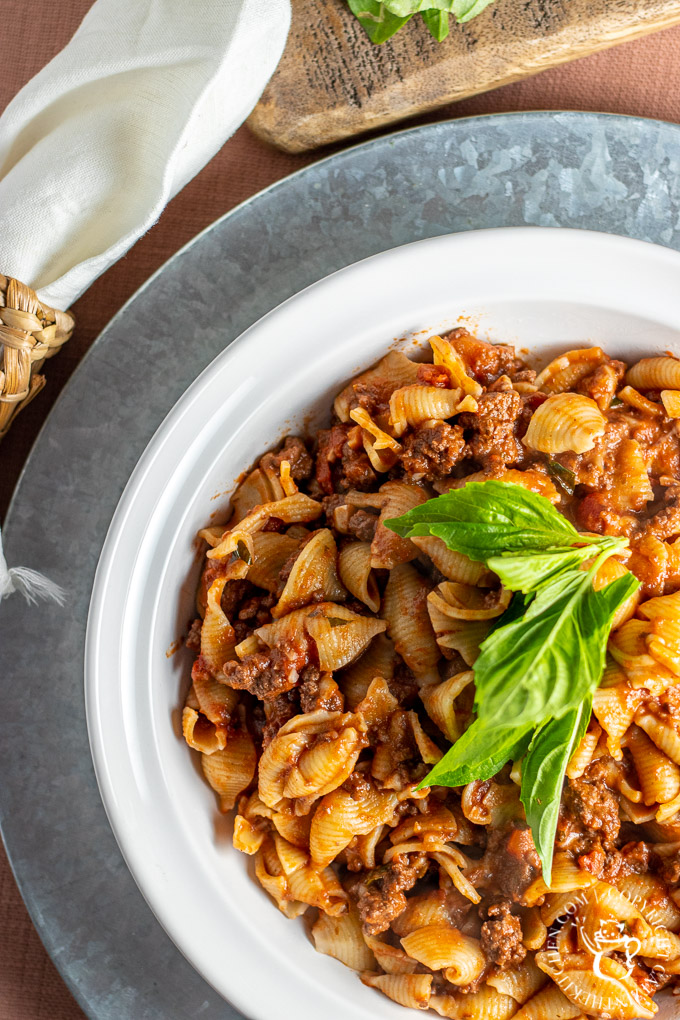 Pasta Bolognese in a bowl
