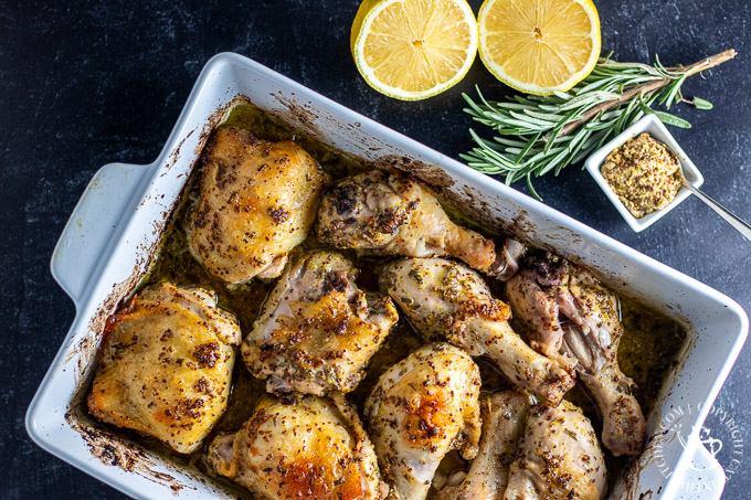 One Pan Roasted Rosemary Mustard Chicken with lemons