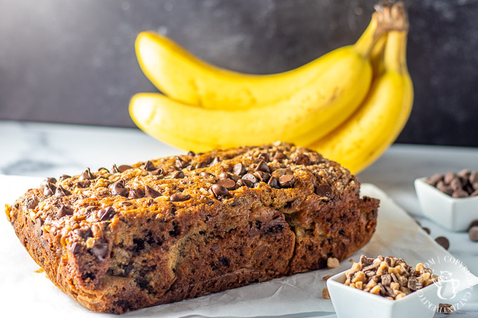 Simple Toffee Chocolate Chip Banana Bread