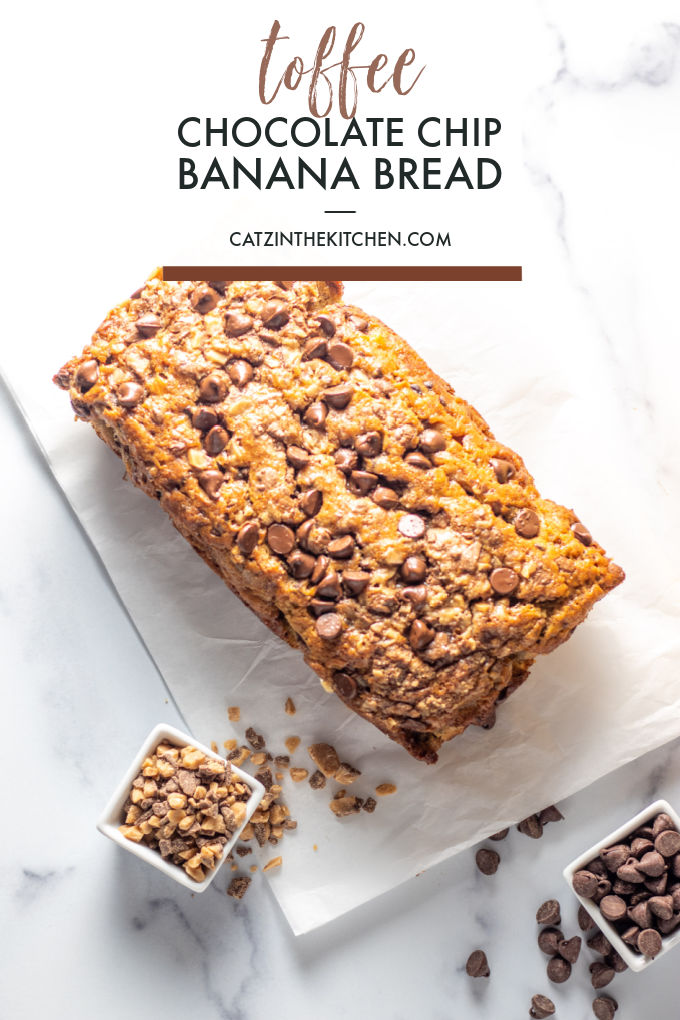 Toffee Chocolate Chip Banana Bread