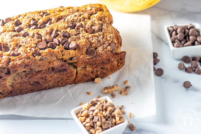 Toffee Chocolate Chip Banana Bread loaf