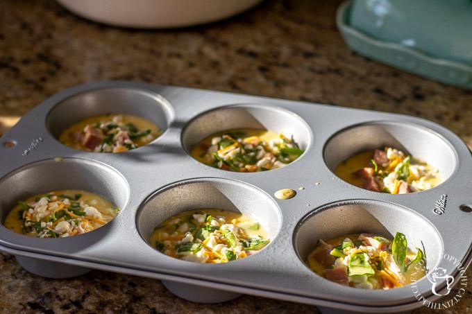 Mini Crustless Quiche preparation
