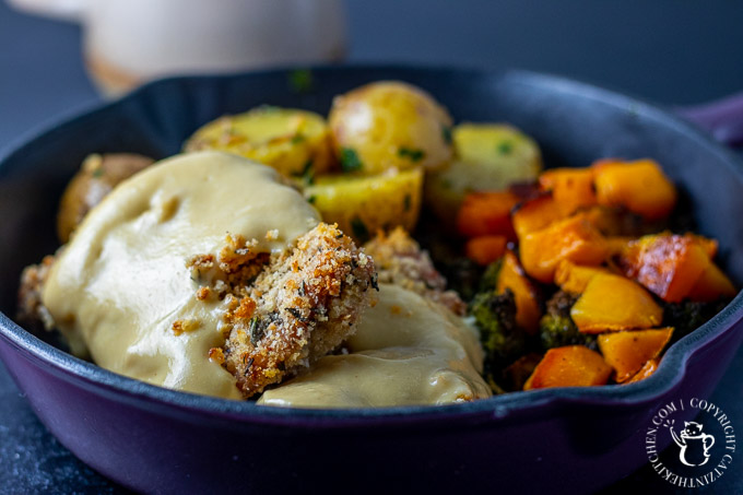 Baked Parmesan Rosemary Chicken Thighs with Honey Mustard Sauce in a skillet