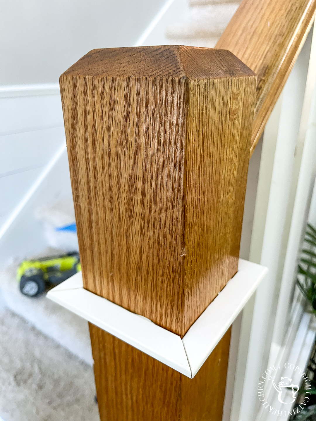 cove moulding for newel post makeover