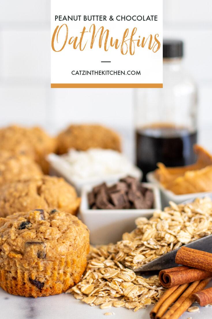 Peanut Butter & Chocolate Oat Muffins recipe