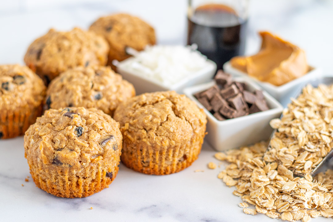 Peanut Butter & Chocolate Oat Muffins ingredients
