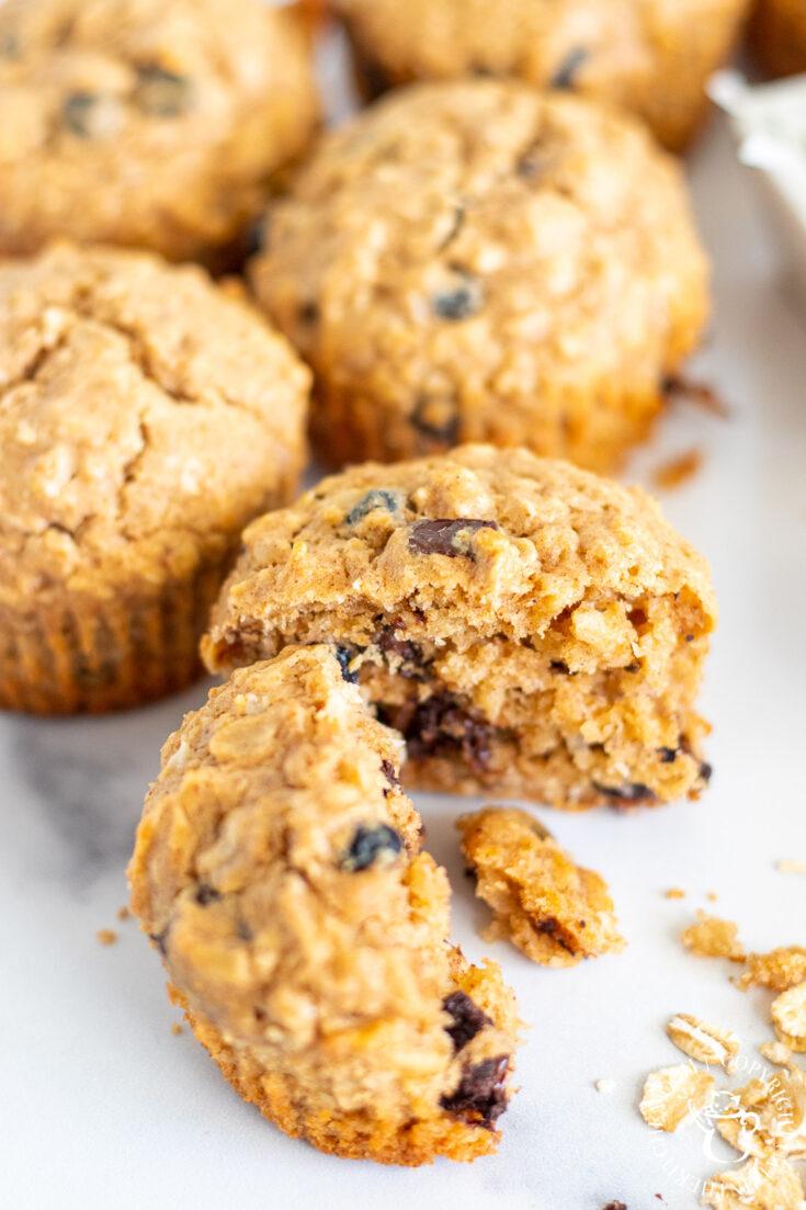 baking Peanut Butter & Chocolate Oat Muffins