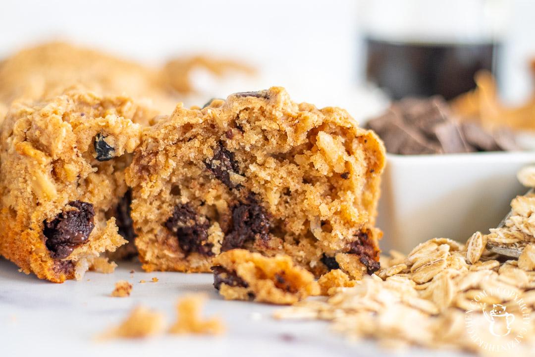 Peanut Butter & Chocolate Oat Muffins closeup
