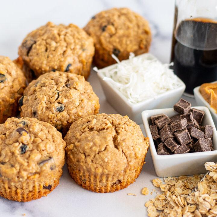 Peanut Butter & Chocolate Oat Muffins