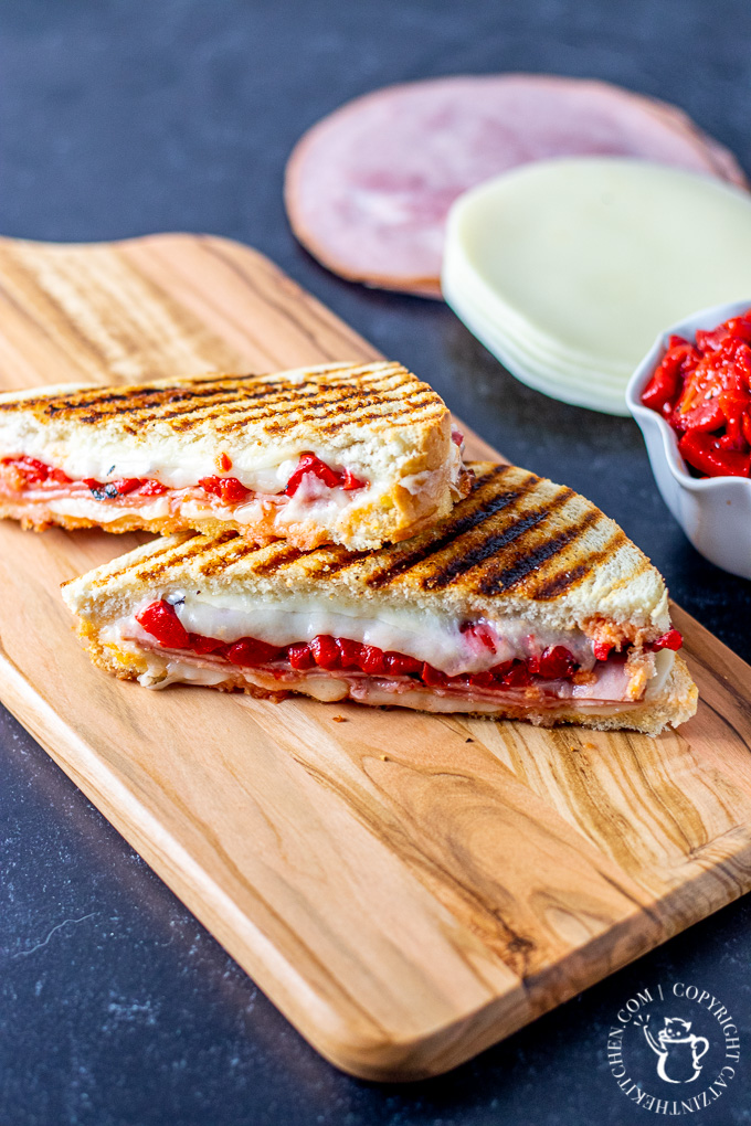 Ham and Roasted Red Pepper Panini with provolone